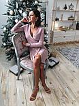 Платье из трикотажа рубчик с люрексом с имитацией запаха vN5691, фото 3