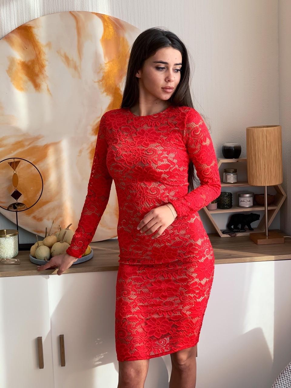 Гипюровое платье по фигуре с длинным рукавом и средней длиной vN5695