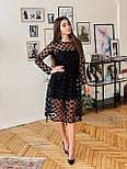 Платье миди с сеткой в горошек сверху и подкладом vN5696, фото 3