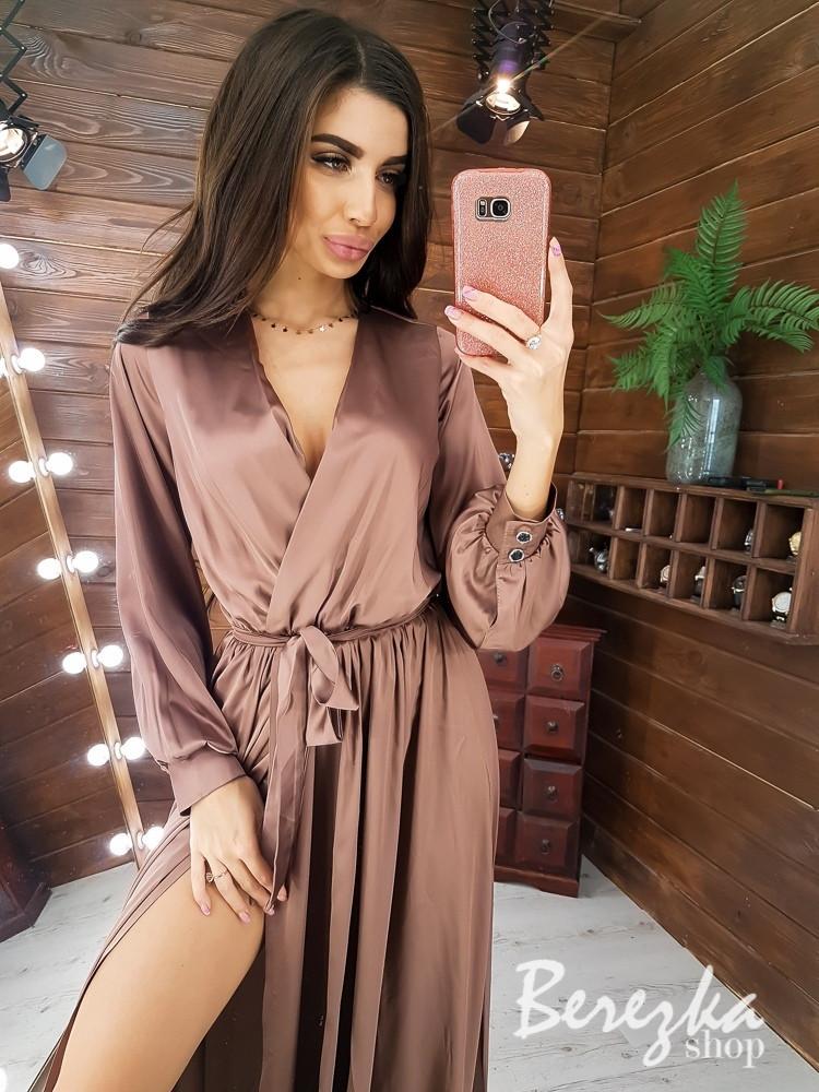 Шелковое длинное платье с верхом на запах и длинным рукавом vN5702