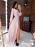 Шелковое длинное платье с верхом на запах и длинным рукавом vN5702, фото 5