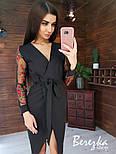 Платье - футляр с поясом и рукавами из сетки с кружевом vN5705, фото 3
