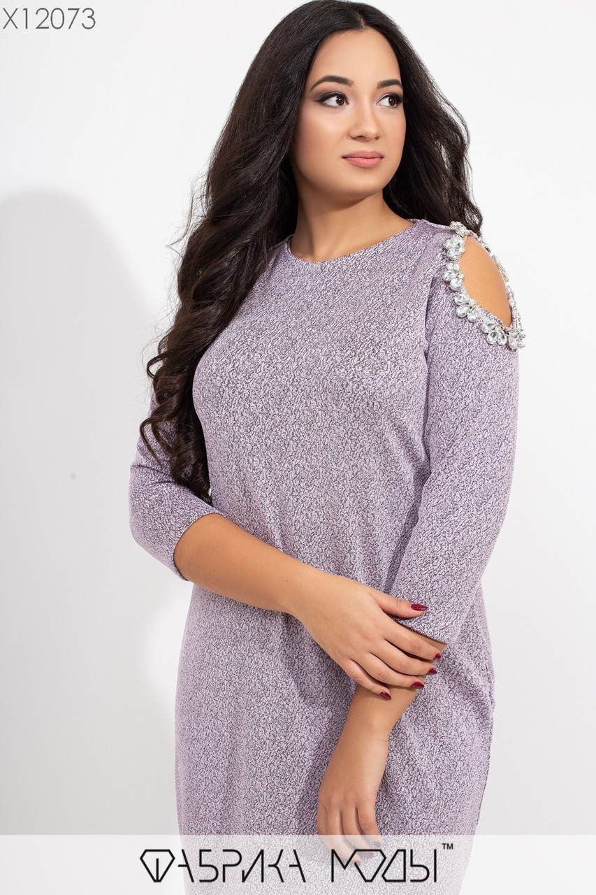 Прямое платье в больших размерах с напылением и разрезами на плечах vN5734