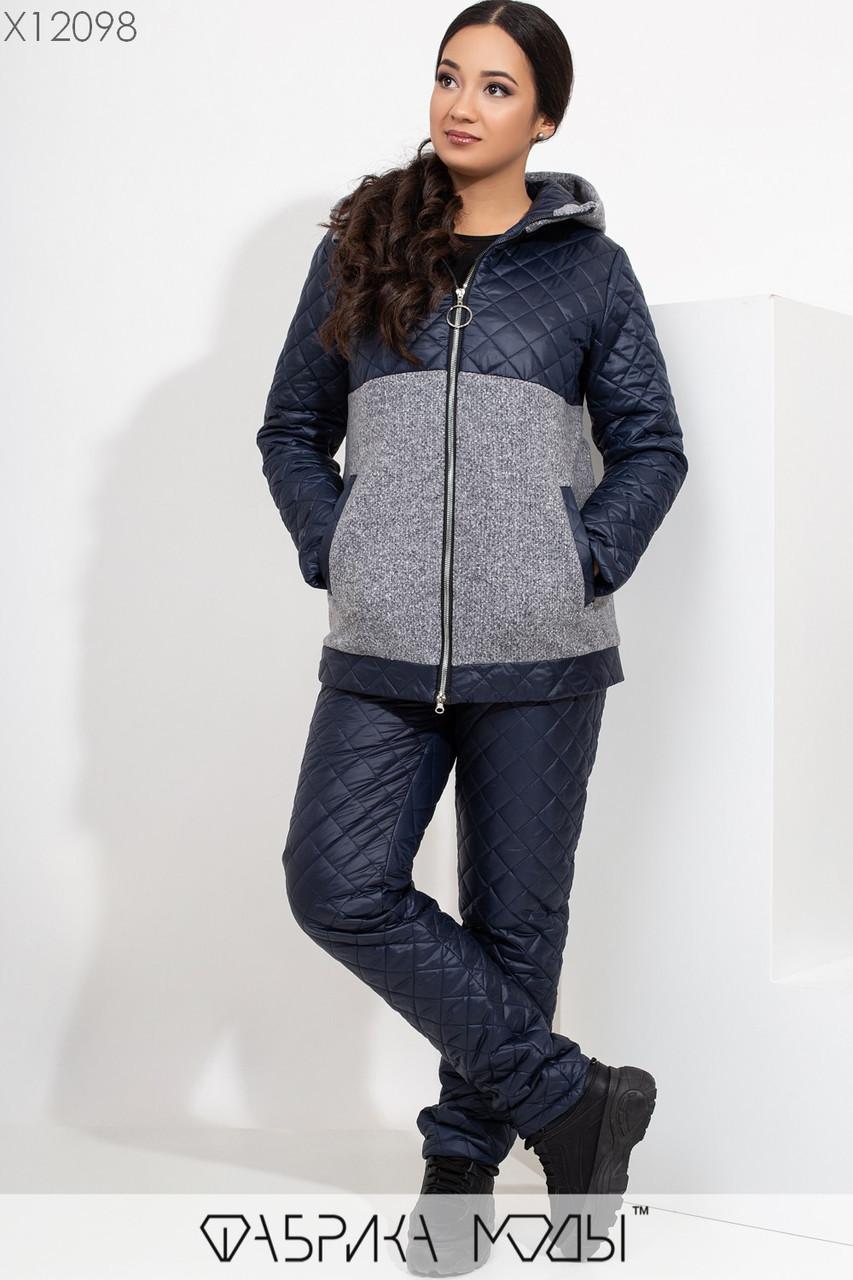 (48, 50) Женский зимний костюм в больших размерах со стежкой в ромбик и тканевыми вставками vN5735