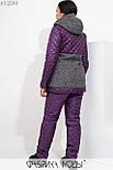 (48, 50) Женский зимний костюм в больших размерах со стежкой в ромбик и тканевыми вставками vN5735, фото 3