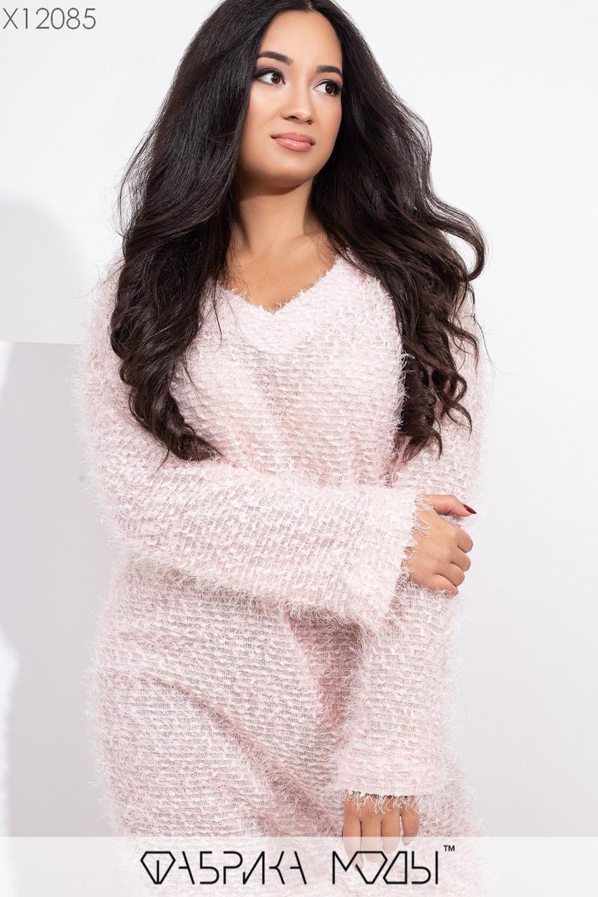 Платье свободное из вязки травка с длинным рукавом и в больших размерах vN5749
