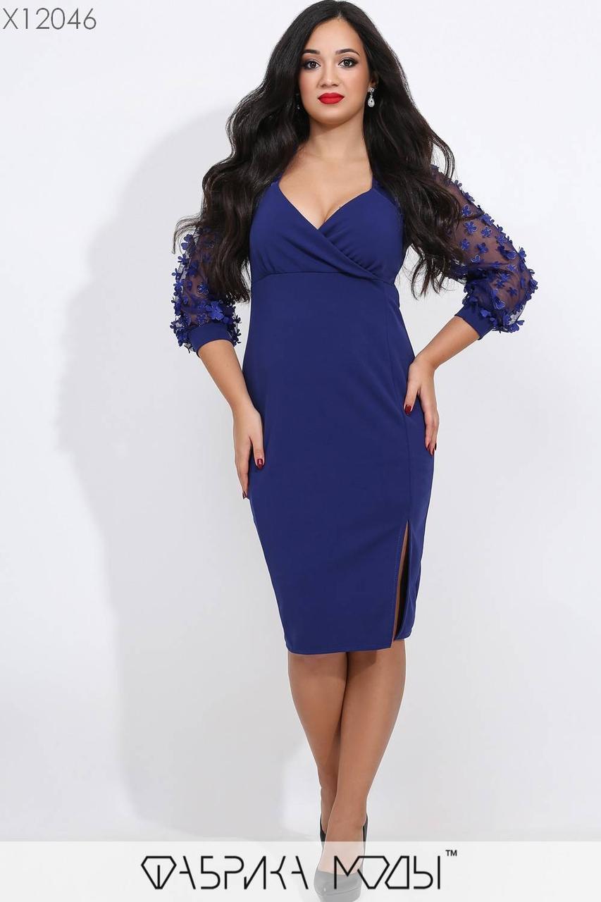 Платье - футляр с верхом на запах и рукавами из сетки в больших размерах vN5755
