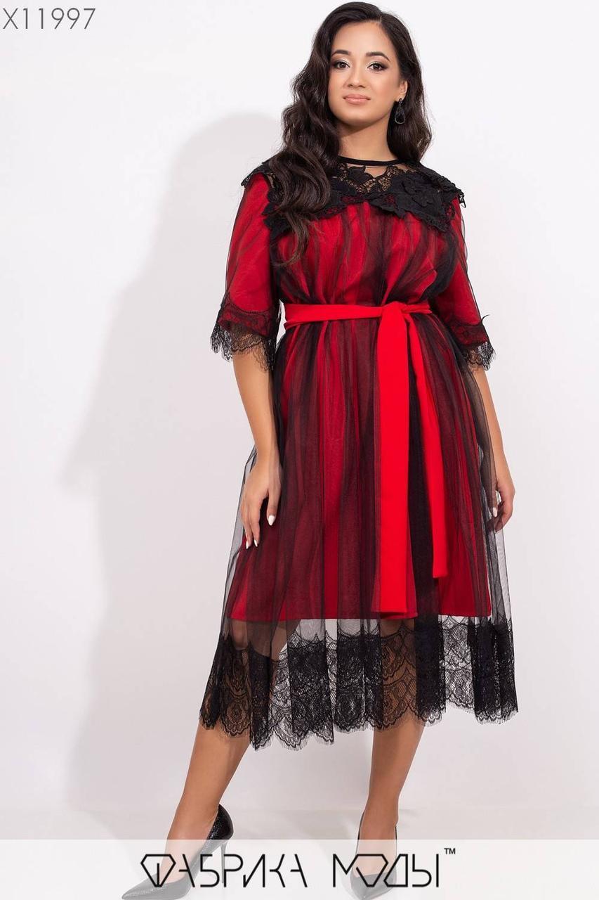 Свободное платье - трапеция большого размера длиной миди и сеткой сверху vN5761