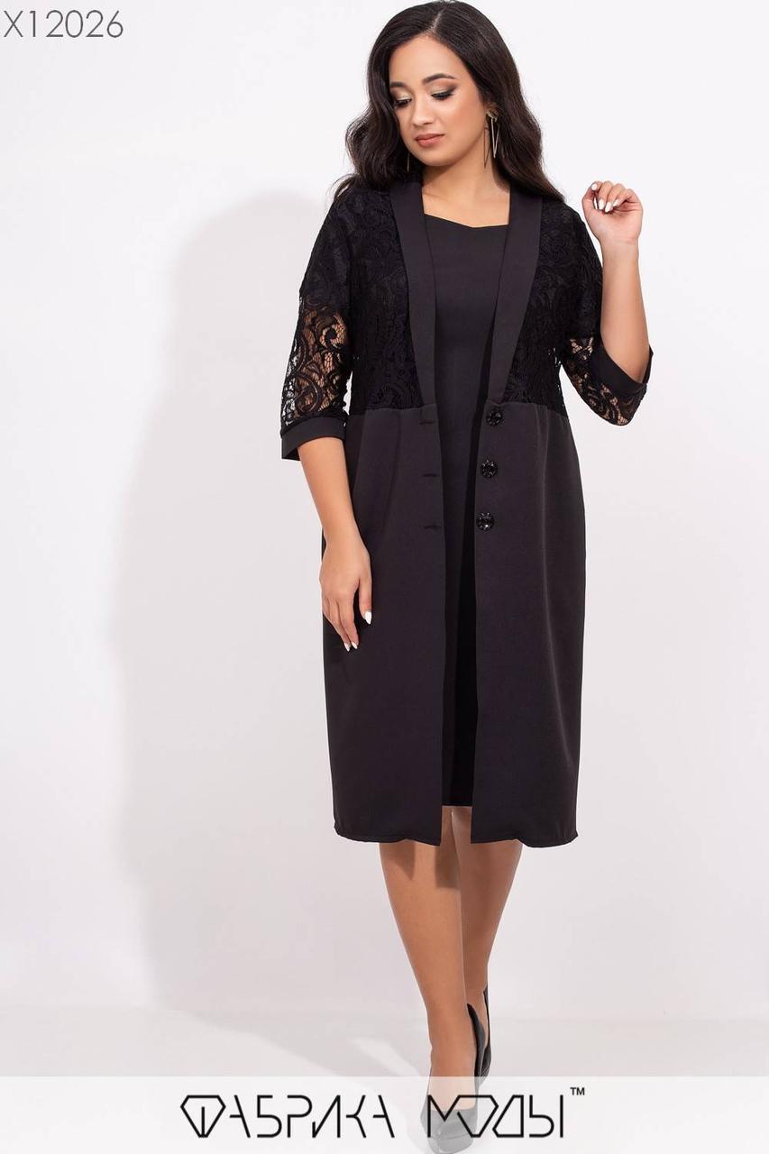 Платье - двойка с накидкой в больших размерах и вставками гипюра vN5763