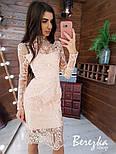 Кружевное платье - футляр с длинным рукавом и высоким воротником vN5788, фото 3