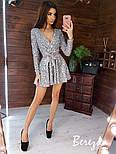 Платье из пайетки на велюре с пышной юбкой, длинным рукавом и верхом на запах vN5794, фото 2