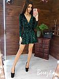 Платье из пайетки на велюре с пышной юбкой, длинным рукавом и верхом на запах vN5794, фото 7