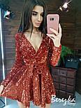 Платье из пайетки на велюре с пышной юбкой, длинным рукавом и верхом на запах vN5794, фото 8
