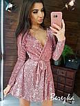 Платье из пайетки на велюре с пышной юбкой, длинным рукавом и верхом на запах vN5794, фото 9