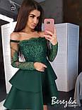 Платье с двойной пышной юбкой из неопрена и кружевным верхом с открытыми плечами vN5799, фото 3