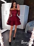 Платье с двойной пышной юбкой из неопрена и кружевным верхом с открытыми плечами vN5799, фото 7