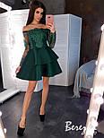 Платье с двойной пышной юбкой из неопрена и кружевным верхом с открытыми плечами vN5799, фото 8