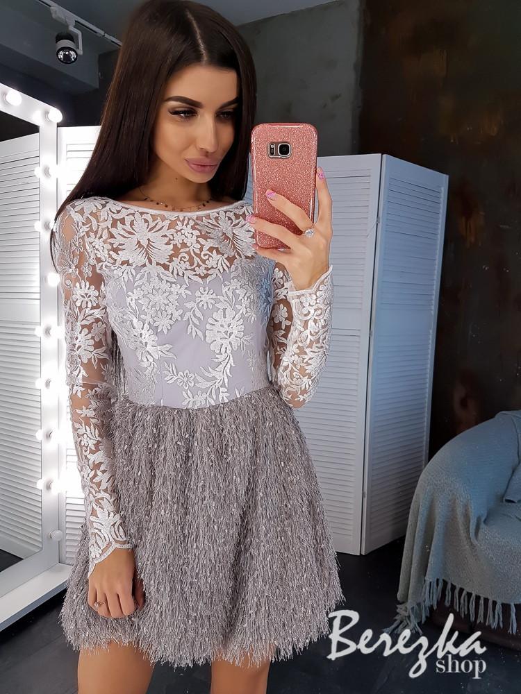 Платье с кружевным верхом с длинным рукавом и юбкой травка vN5800