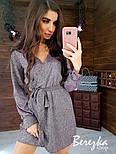 Свободное короткое платье из люрекса с верхом на запах и длинным рукавом vN5802, фото 5