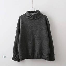 Вязаный теплый свитер оверсайз с небольшим воротником стойкой vN5818