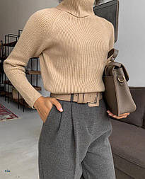 Женский однотонный тонкий свитер с горлом и рукавом регланом vN5823