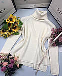 Женский однотонный тонкий свитер с горлом и рукавом регланом vN5823, фото 4