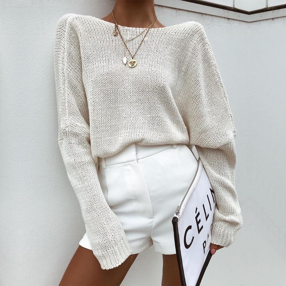 Женский вязаный свитер свободный с открытой спиной vN5831