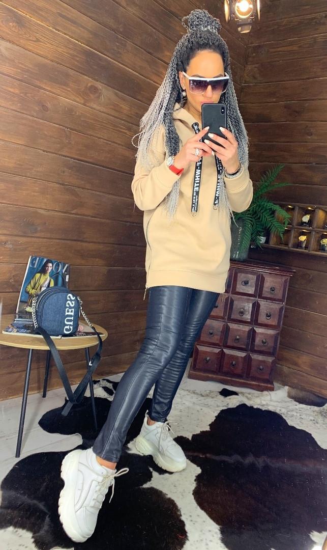 Женское удлиненное худи на флисе с капюшоном vN5835