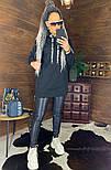 Женское удлиненное худи на флисе с капюшоном vN5835, фото 5