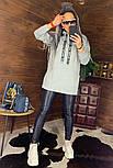 Женское удлиненное худи на флисе с капюшоном vN5835, фото 9