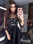 Платье миди с пышной юбкой и кружевным верхом с рукавом 3/4 vN5840, фото 5