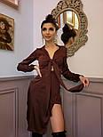 Асимметричное атсалное платье с длинным рукавом и верхом на завязке vN5844, фото 6