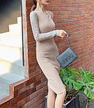 Платье из трикотажа рибаны с длинным рукавом и молнией на груди vN5848, фото 3