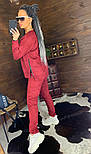 Замшевый женский брючный костюм с кофтой и боковыми молниями vN5859, фото 2