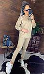 Замшевый женский брючный костюм с кофтой и боковыми молниями vN5859, фото 4