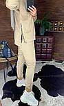 Замшевый женский брючный костюм с кофтой и боковыми молниями vN5859, фото 5