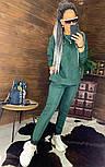 Замшевый женский брючный костюм с кофтой и боковыми молниями vN5859, фото 8