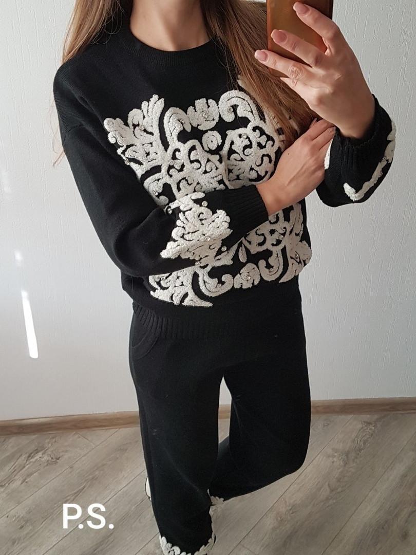 Женский теплый вязаный костюм с кашемиром и узорами vN5861