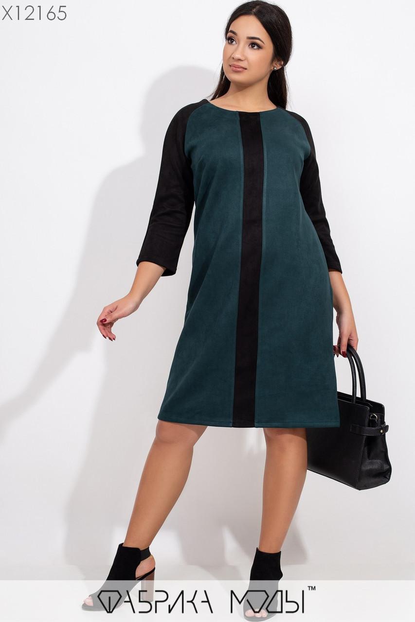 Прямое замшевое платье в больших размерах с рукавом 3/4 и контрастной вставкой vN5882