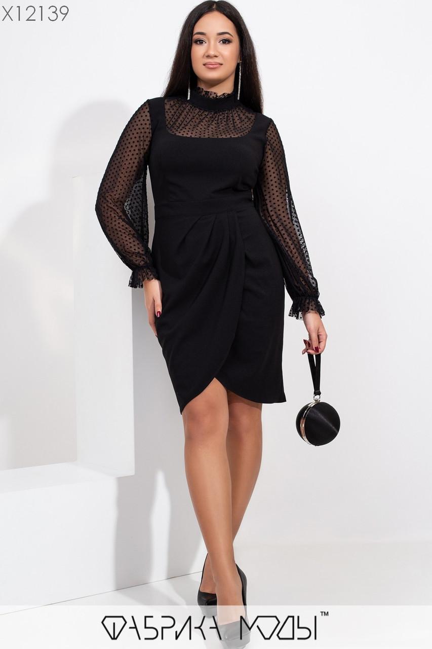 Платье в больших размерах с асимметричной юбкой и вставкой из сетки vN5884