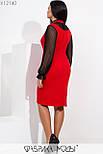 Платье в больших размерах с асимметричной юбкой и вставкой из сетки vN5884, фото 6