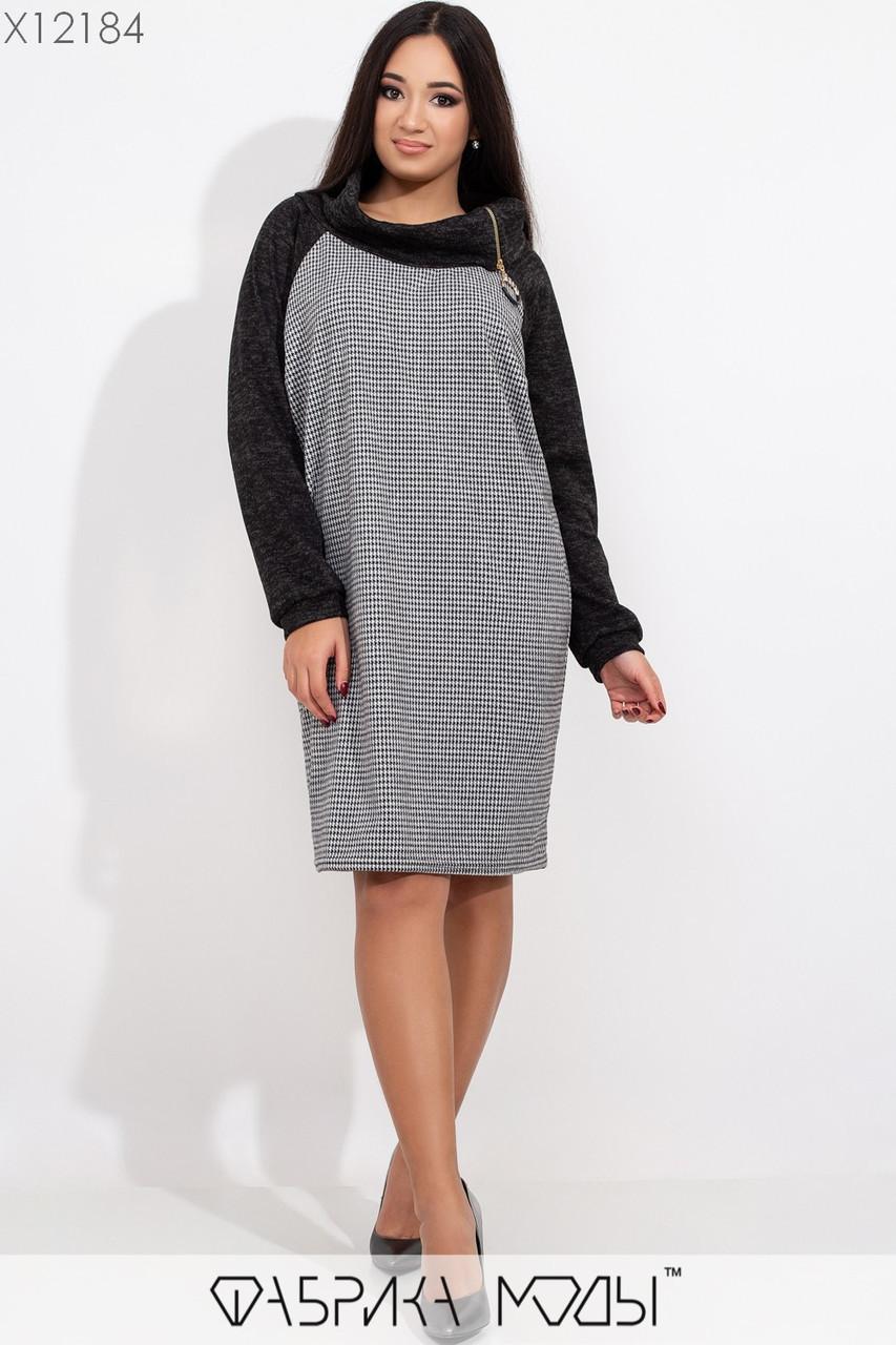 Прямое платье из ангоры в клетку в больших размерах с длинным рукавом vN5886