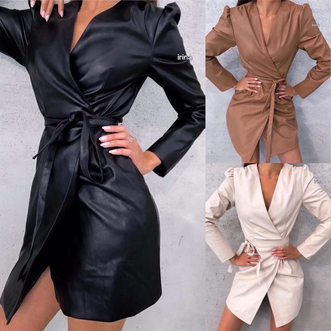 Платье женское, повседневное, эко кожа, на запах, длинный рукав, удобное, модное, стильное, короткое, офисное