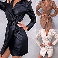 Платье женское, повседневное, эко кожа, на запах, длинный рукав, удобное, модное, стильное, короткое, офисное, фото 1