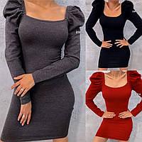 Платье женское повседневное, трикотажное, короткое, ровное,стильное, модное, офисное, деловое, с декольте, фото 1