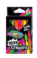 Карандаши восковые трехгранные NEON JUMBO; 6 цветов