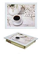 Поднос на подушке BST 040380 44*36 белый чашка кофе
