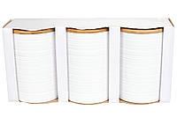 Набор (3шт) керамических банок 800мл с бамбуковыми крышками с объемным рисунком Линии, цвет - белый,15см BonaDi 304-903
