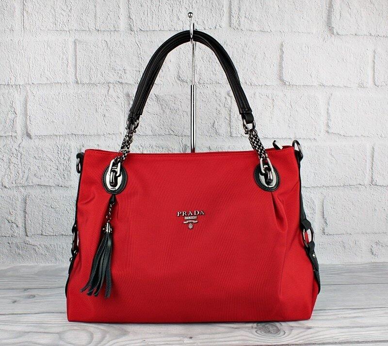 Сумка большая женская текстильная красная Prada 81149
