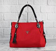 Сумка большая женская текстильная красная Prada 81149, фото 1